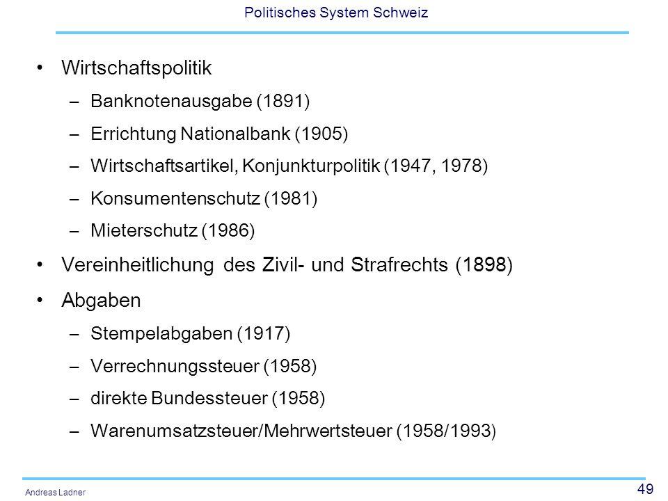 49 Politisches System Schweiz Andreas Ladner Wirtschaftspolitik –Banknotenausgabe (1891) –Errichtung Nationalbank (1905) –Wirtschaftsartikel, Konjunkturpolitik (1947, 1978) –Konsumentenschutz (1981) –Mieterschutz (1986) Vereinheitlichung des Zivil- und Strafrechts (1898) Abgaben –Stempelabgaben (1917) –Verrechnungssteuer (1958) –direkte Bundessteuer (1958) –Warenumsatzsteuer/Mehrwertsteuer (1958/1993 )