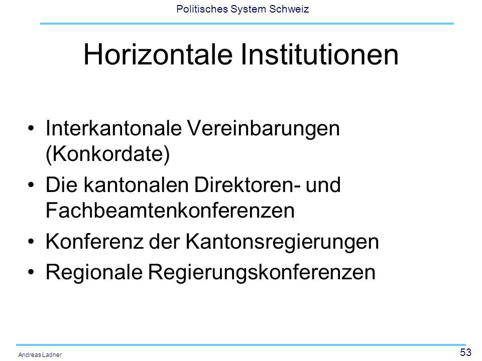 53 Politisches System Schweiz Andreas Ladner Horizontale Institutionen Interkantonale Vereinbarungen (Konkordate) Die kantonalen Direktoren- und Fachbeamtenkonferenzen Konferenz der Kantonsregierungen Regionale Regierungskonferenzen