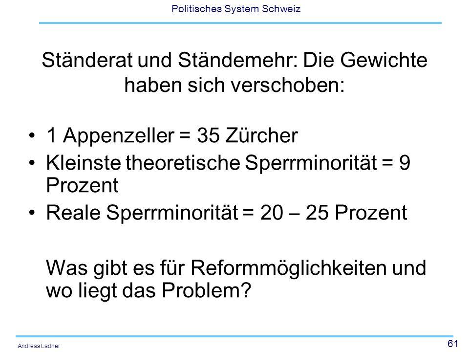 61 Politisches System Schweiz Andreas Ladner Ständerat und Ständemehr: Die Gewichte haben sich verschoben: 1 Appenzeller = 35 Zürcher Kleinste theoretische Sperrminorität = 9 Prozent Reale Sperrminorität = 20 – 25 Prozent Was gibt es für Reformmöglichkeiten und wo liegt das Problem?