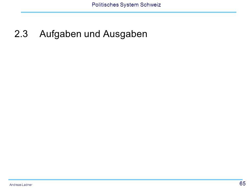 65 Politisches System Schweiz Andreas Ladner 2.3Aufgaben und Ausgaben
