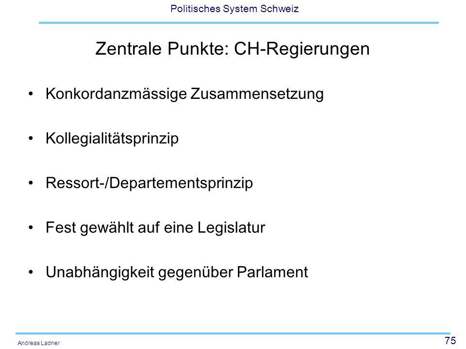 75 Politisches System Schweiz Andreas Ladner Zentrale Punkte: CH-Regierungen Konkordanzmässige Zusammensetzung Kollegialitätsprinzip Ressort-/Departem