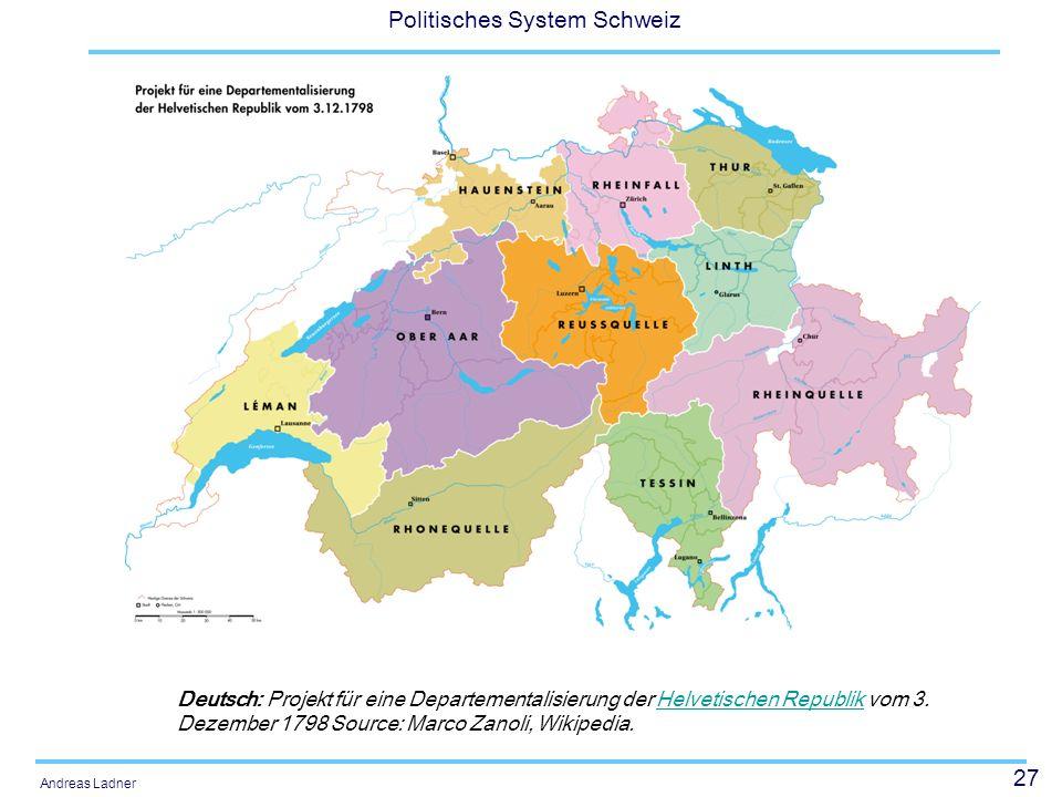 27 Politisches System Schweiz Andreas Ladner Deutsch: Projekt für eine Departementalisierung der Helvetischen Republik vom 3. Dezember 1798 Source: Ma