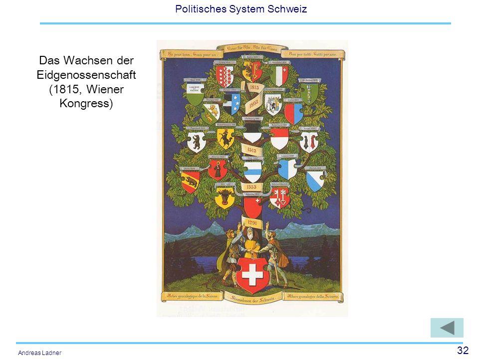 32 Politisches System Schweiz Andreas Ladner Das Wachsen der Eidgenossenschaft (1815, Wiener Kongress)