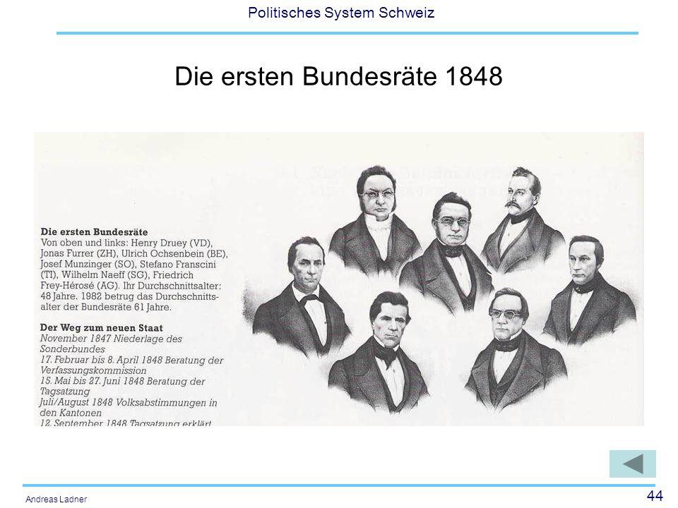 44 Politisches System Schweiz Andreas Ladner Die ersten Bundesräte 1848