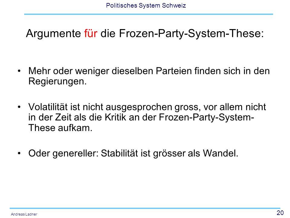 20 Politisches System Schweiz Andreas Ladner Argumente für die Frozen-Party-System-These: Mehr oder weniger dieselben Parteien finden sich in den Regierungen.