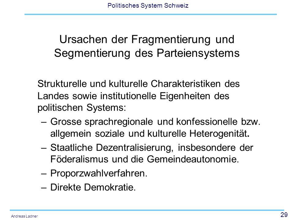 29 Politisches System Schweiz Andreas Ladner Ursachen der Fragmentierung und Segmentierung des Parteiensystems Strukturelle und kulturelle Charakteristiken des Landes sowie institutionelle Eigenheiten des politischen Systems: –Grosse sprachregionale und konfessionelle bzw.