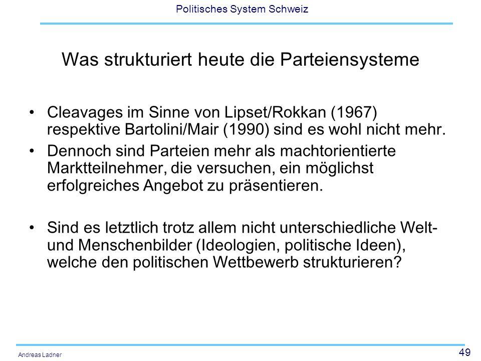 49 Politisches System Schweiz Andreas Ladner Was strukturiert heute die Parteiensysteme Cleavages im Sinne von Lipset/Rokkan (1967) respektive Bartolini/Mair (1990) sind es wohl nicht mehr.
