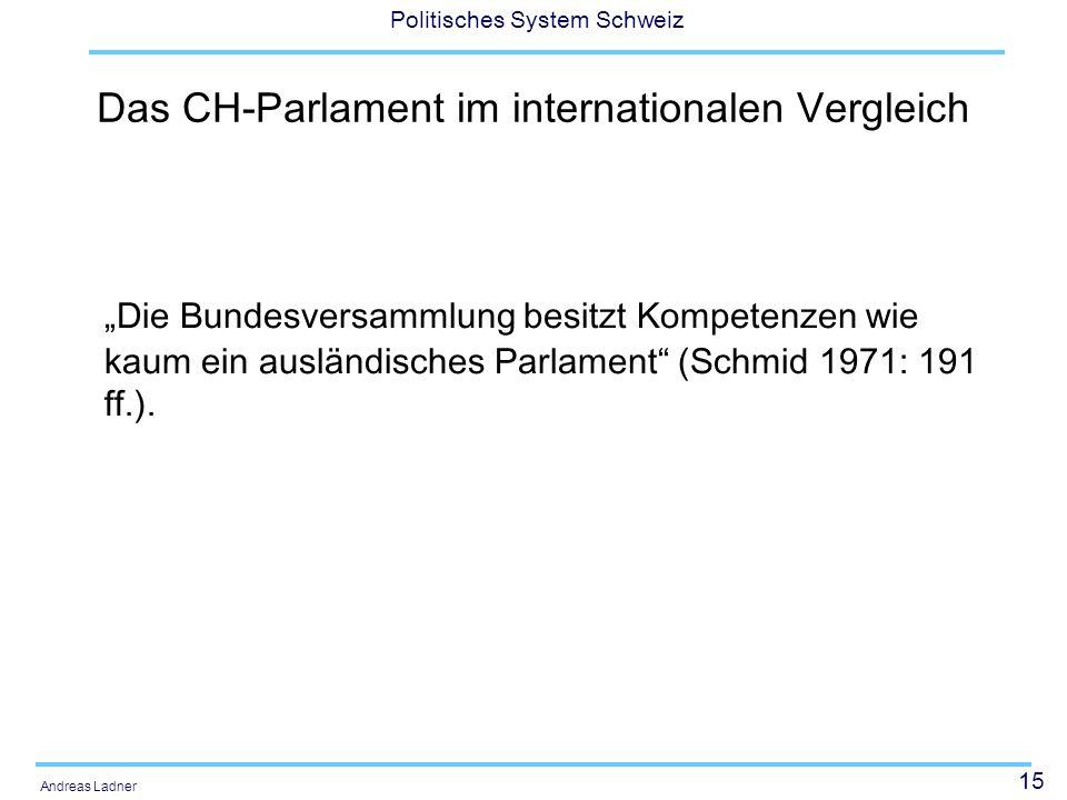 15 Politisches System Schweiz Andreas Ladner Das CH-Parlament im internationalen Vergleich Die Bundesversammlung besitzt Kompetenzen wie kaum ein ausländisches Parlament (Schmid 1971: 191 ff.).