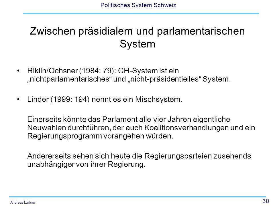30 Politisches System Schweiz Andreas Ladner Zwischen präsidialem und parlamentarischen System Riklin/Ochsner (1984: 79): CH-System ist ein nichtparlamentarisches und nicht-präsidentielles System.