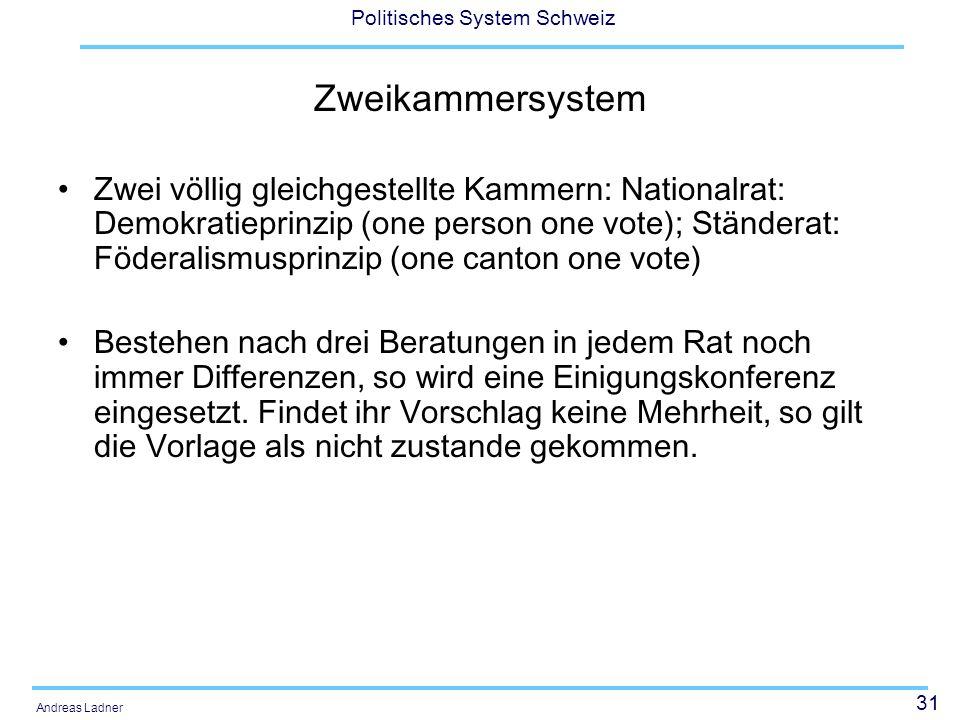 31 Politisches System Schweiz Andreas Ladner Zweikammersystem Zwei völlig gleichgestellte Kammern: Nationalrat: Demokratieprinzip (one person one vote); Ständerat: Föderalismusprinzip (one canton one vote) Bestehen nach drei Beratungen in jedem Rat noch immer Differenzen, so wird eine Einigungskonferenz eingesetzt.