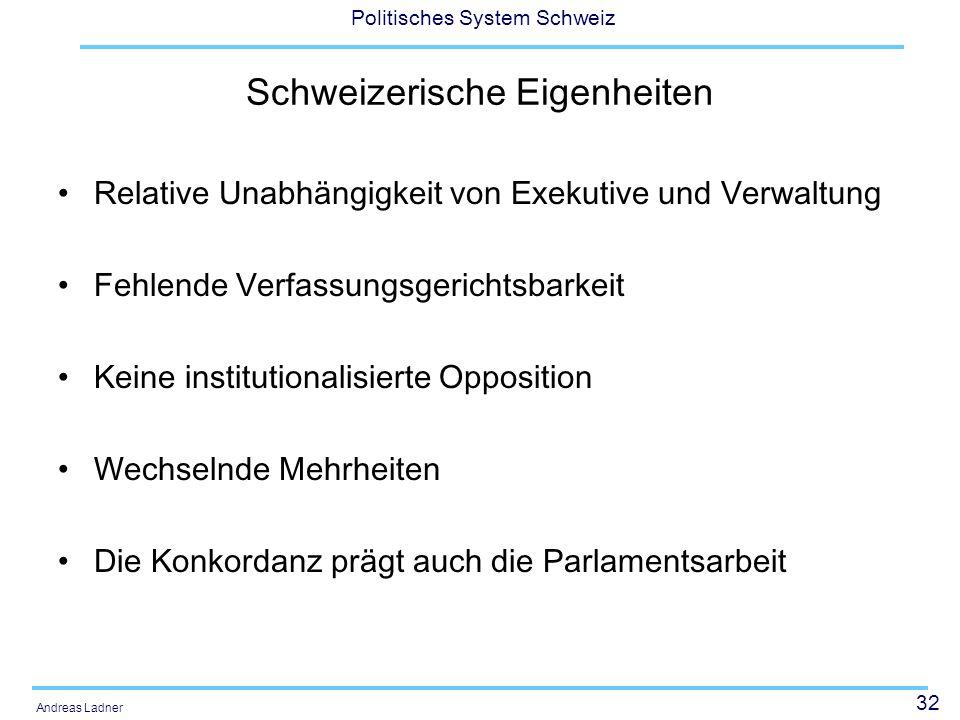 32 Politisches System Schweiz Andreas Ladner Schweizerische Eigenheiten Relative Unabhängigkeit von Exekutive und Verwaltung Fehlende Verfassungsgerichtsbarkeit Keine institutionalisierte Opposition Wechselnde Mehrheiten Die Konkordanz prägt auch die Parlamentsarbeit