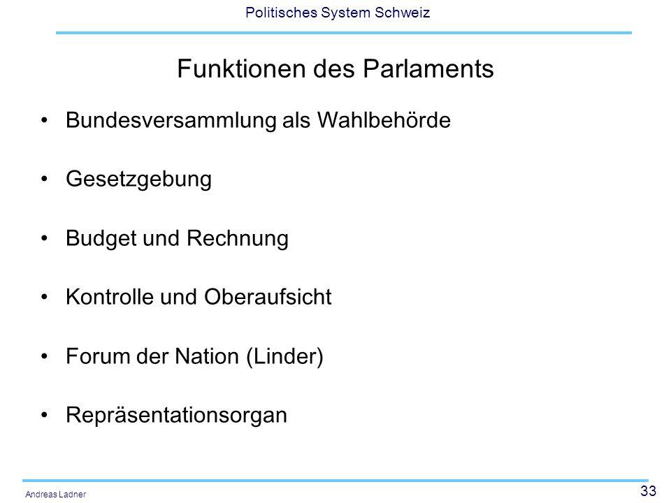 33 Politisches System Schweiz Andreas Ladner Funktionen des Parlaments Bundesversammlung als Wahlbehörde Gesetzgebung Budget und Rechnung Kontrolle und Oberaufsicht Forum der Nation (Linder) Repräsentationsorgan