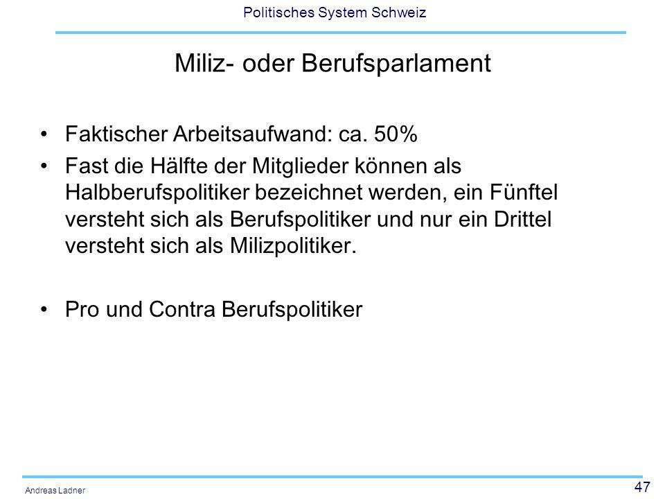 47 Politisches System Schweiz Andreas Ladner Miliz- oder Berufsparlament Faktischer Arbeitsaufwand: ca.
