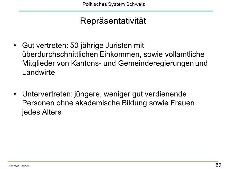 50 Politisches System Schweiz Andreas Ladner Repräsentativität Gut vertreten: 50 jährige Juristen mit überdurchschnittlichen Einkommen, sowie vollamtliche Mitglieder von Kantons- und Gemeinderegierungen und Landwirte Untervertreten: jüngere, weniger gut verdienende Personen ohne akademische Bildung sowie Frauen jedes Alters