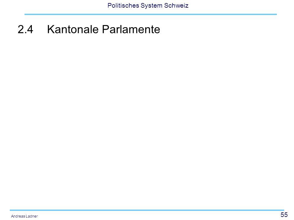55 Politisches System Schweiz Andreas Ladner 2.4Kantonale Parlamente