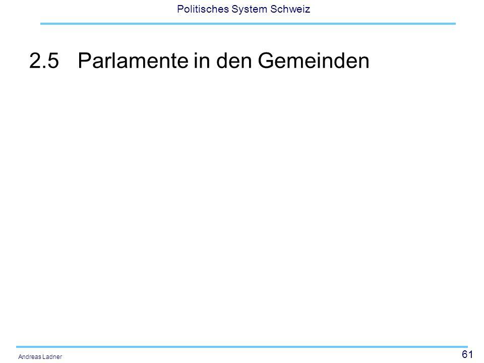 61 Politisches System Schweiz Andreas Ladner 2.5Parlamente in den Gemeinden