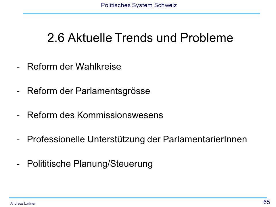 65 Politisches System Schweiz Andreas Ladner 2.6 Aktuelle Trends und Probleme -Reform der Wahlkreise -Reform der Parlamentsgrösse -Reform des Kommissionswesens -Professionelle Unterstützung der ParlamentarierInnen -Polititische Planung/Steuerung