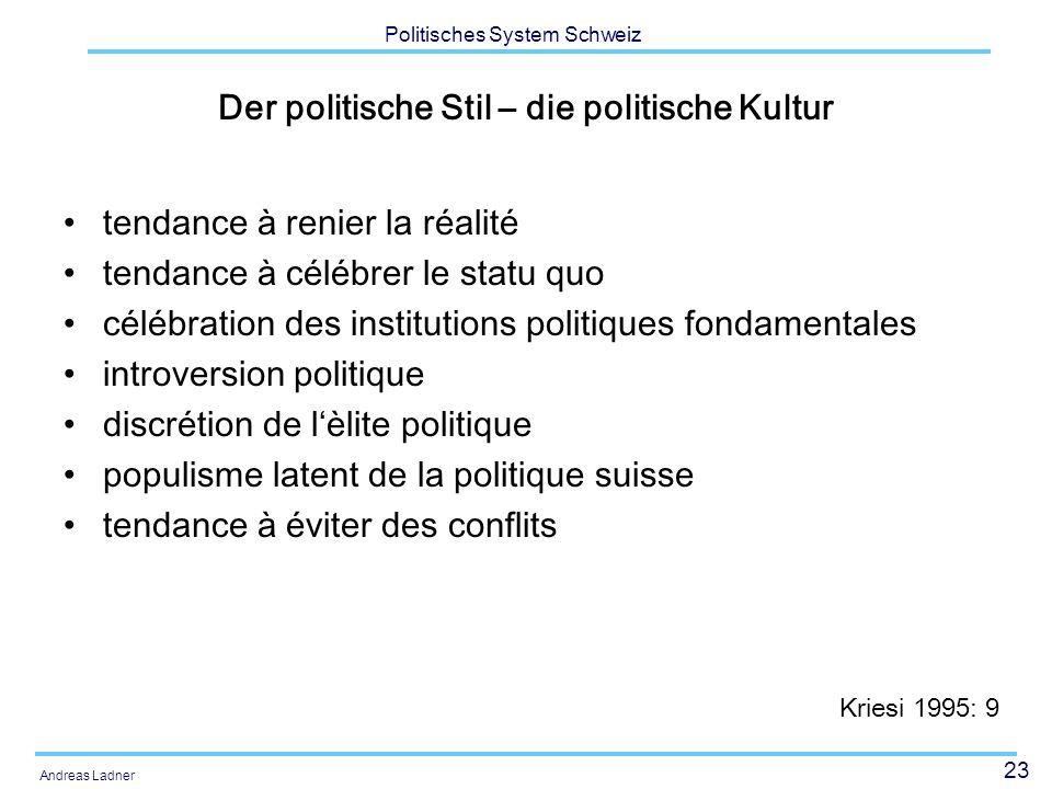 23 Politisches System Schweiz Andreas Ladner Der politische Stil – die politische Kultur tendance à renier la réalité tendance à célébrer le statu quo