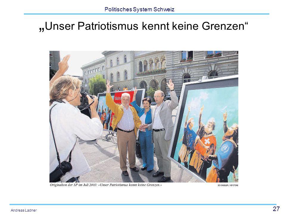 27 Politisches System Schweiz Andreas Ladner Unser Patriotismus kennt keine Grenzen