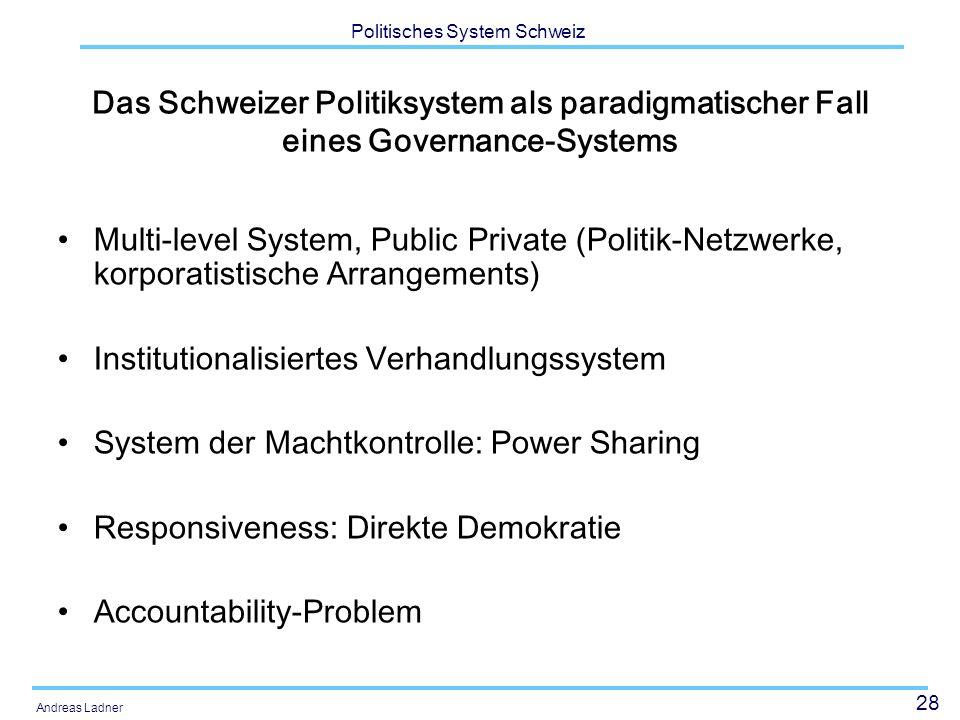 28 Politisches System Schweiz Andreas Ladner Das Schweizer Politiksystem als paradigmatischer Fall eines Governance-Systems Multi-level System, Public