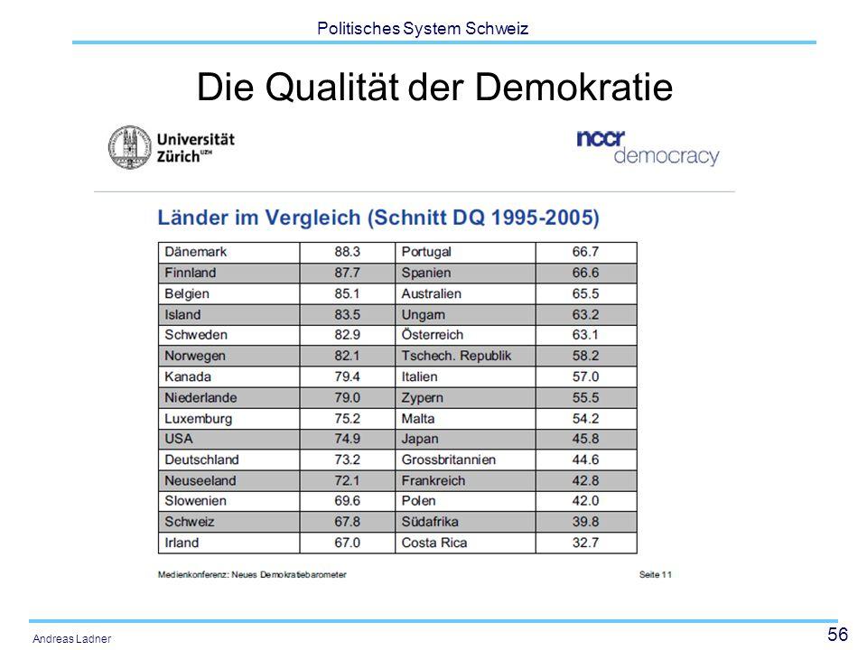 56 Politisches System Schweiz Andreas Ladner Die Qualität der Demokratie