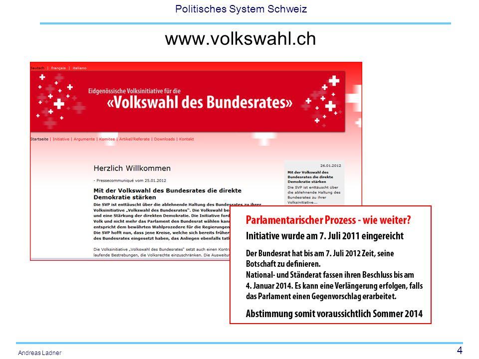 4 Politisches System Schweiz Andreas Ladner www.volkswahl.ch
