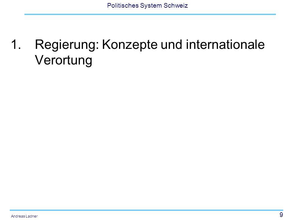 9 Politisches System Schweiz Andreas Ladner 1.Regierung: Konzepte und internationale Verortung