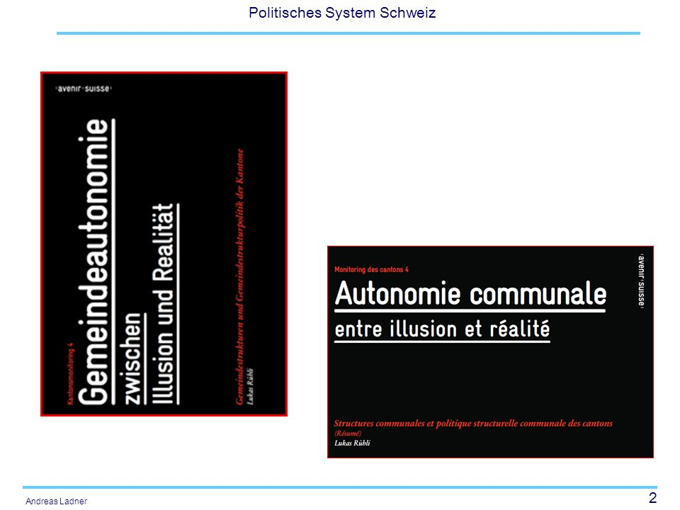 43 Politisches System Schweiz Andreas Ladner Die zentralen Reformbereiche Gemeinde: P&V: NPM PP- Partnership, Outsourcing IKZ, Fusionen Aufgaben- teilung Finanz- und Lastenaus- gleich Kanton