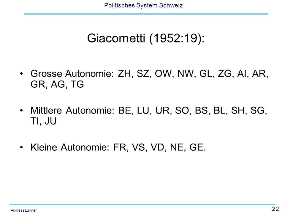 22 Politisches System Schweiz Andreas Ladner Giacometti (1952:19): Grosse Autonomie: ZH, SZ, OW, NW, GL, ZG, AI, AR, GR, AG, TG Mittlere Autonomie: BE