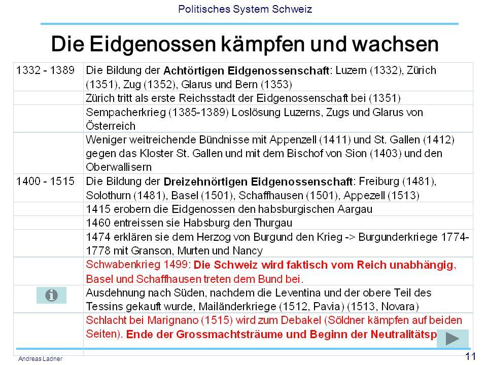 11 Politisches System Schweiz Andreas Ladner Die Eidgenossen kämpfen und wachsen