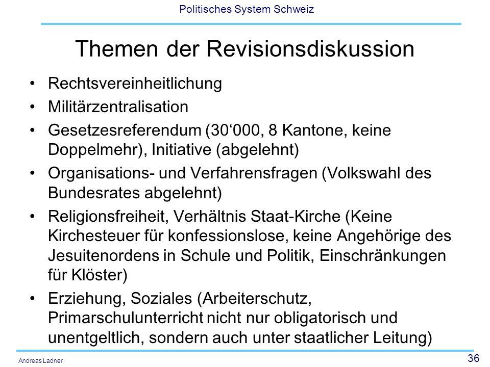 36 Politisches System Schweiz Andreas Ladner Themen der Revisionsdiskussion Rechtsvereinheitlichung Militärzentralisation Gesetzesreferendum (30000, 8