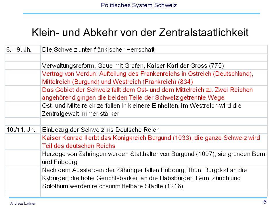 6 Politisches System Schweiz Andreas Ladner Klein- und Abkehr von der Zentralstaatlichkeit