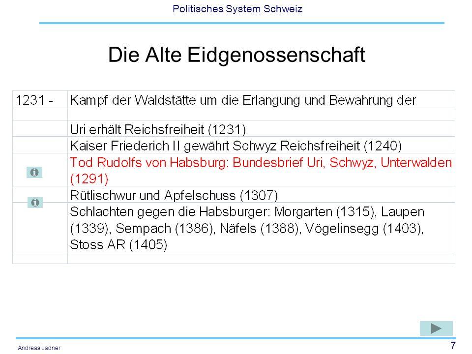38 Politisches System Schweiz Andreas Ladner Würdigung der neuen Verfassung Die neue Verfassung war für die nicht-liberalen Kantone eher ein Diktat der Mehrheit, und zwar deutlich schärfer als 1872.