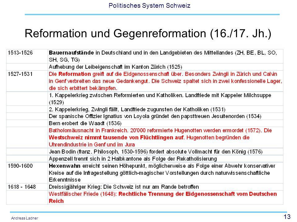 13 Politisches System Schweiz Andreas Ladner Reformation und Gegenreformation (16./17. Jh.)