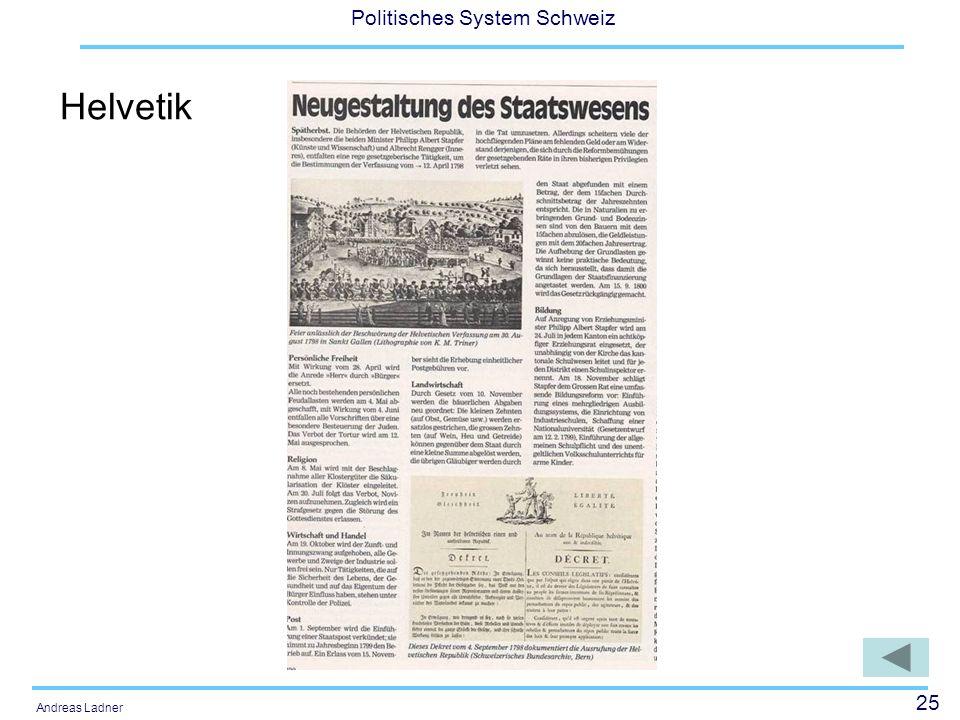 25 Politisches System Schweiz Andreas Ladner Helvetik