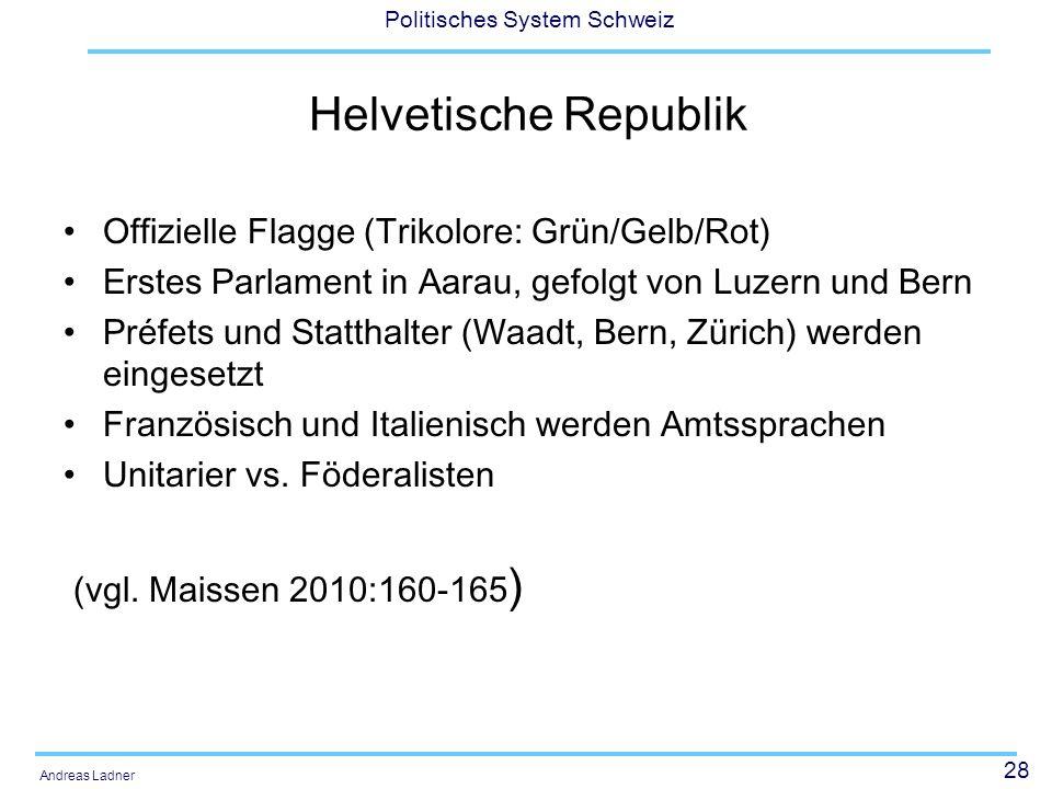 28 Politisches System Schweiz Andreas Ladner Helvetische Republik Offizielle Flagge (Trikolore: Grün/Gelb/Rot) Erstes Parlament in Aarau, gefolgt von