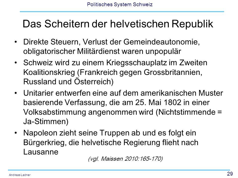 29 Politisches System Schweiz Andreas Ladner Das Scheitern der helvetischen Republik Direkte Steuern, Verlust der Gemeindeautonomie, obligatorischer M