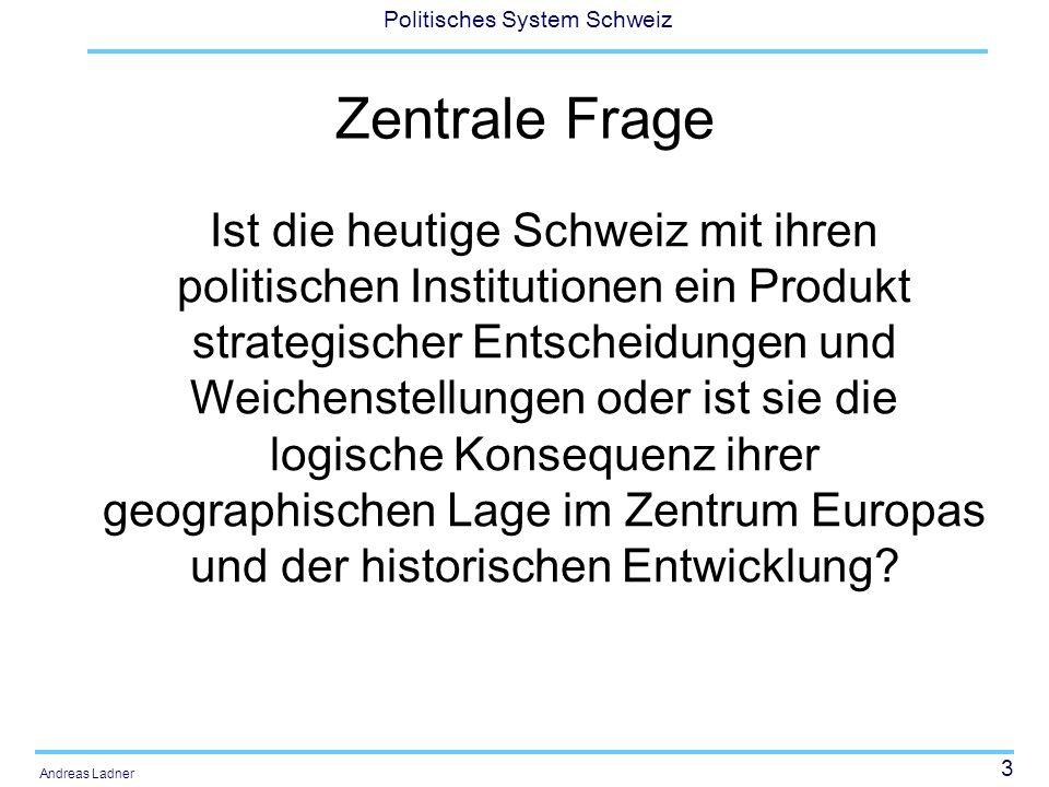 24 Politisches System Schweiz Andreas Ladner Weitere Gründe für den europäischen Befreiungszug der Truppen der französischen Revolution Napoleon wollte nicht nur die Freiheitsrechte in die Schweiz bringen (vgl.