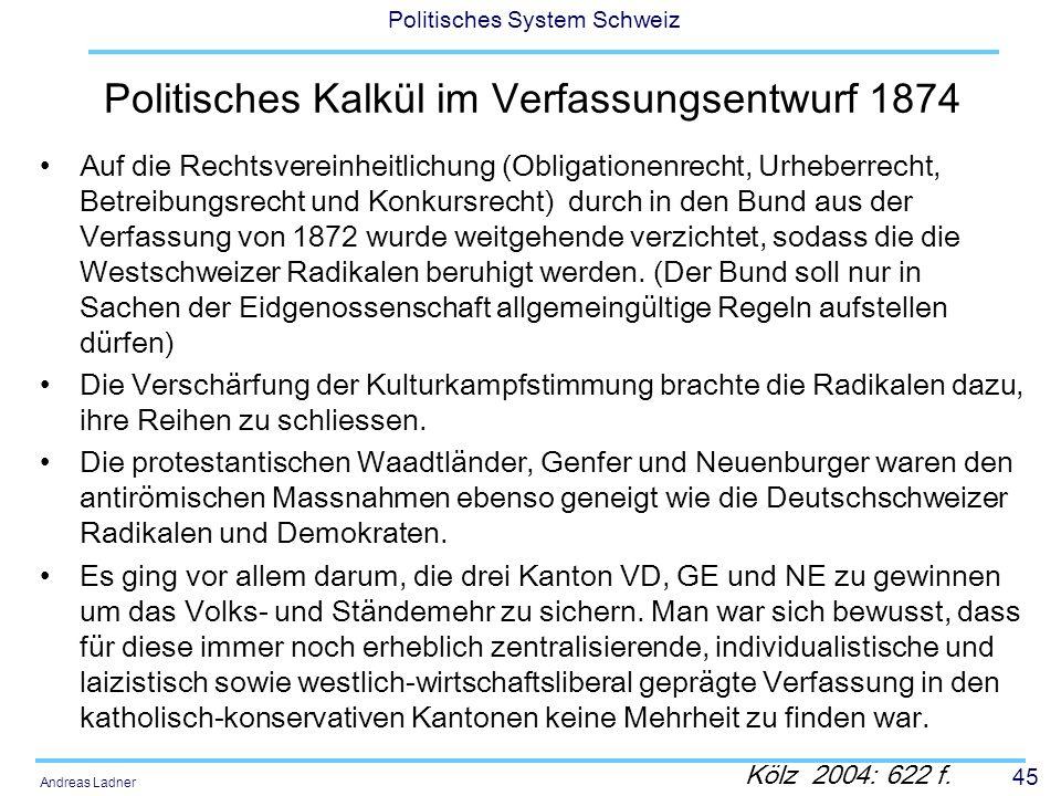 45 Politisches System Schweiz Andreas Ladner Politisches Kalkül im Verfassungsentwurf 1874 Auf die Rechtsvereinheitlichung (Obligationenrecht, Urheber