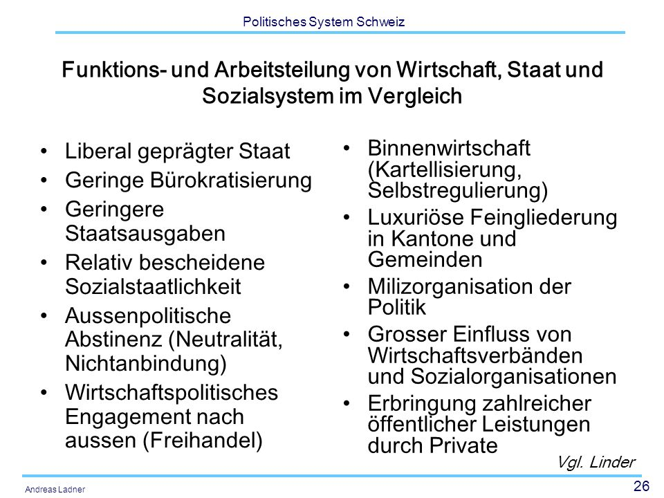 26 Politisches System Schweiz Andreas Ladner Funktions- und Arbeitsteilung von Wirtschaft, Staat und Sozialsystem im Vergleich Liberal geprägter Staat