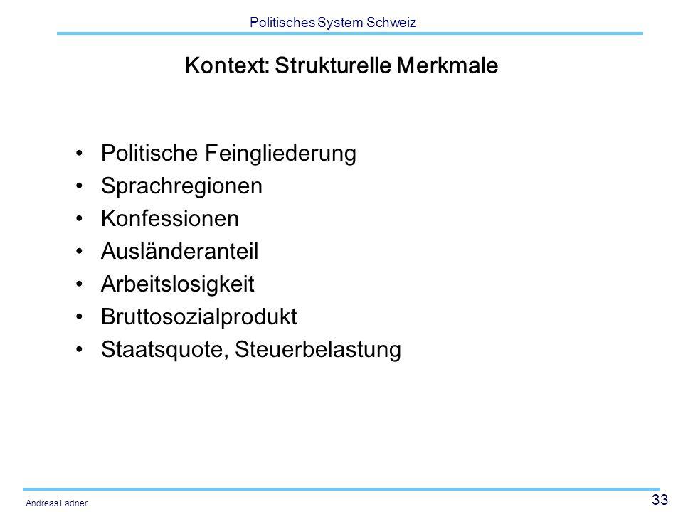 33 Politisches System Schweiz Andreas Ladner Kontext: Strukturelle Merkmale Politische Feingliederung Sprachregionen Konfessionen Ausländeranteil Arbe