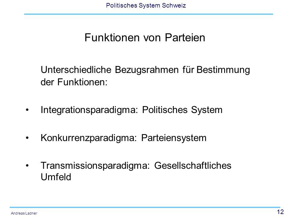 12 Politisches System Schweiz Andreas Ladner Funktionen von Parteien Unterschiedliche Bezugsrahmen für Bestimmung der Funktionen: Integrationsparadigm