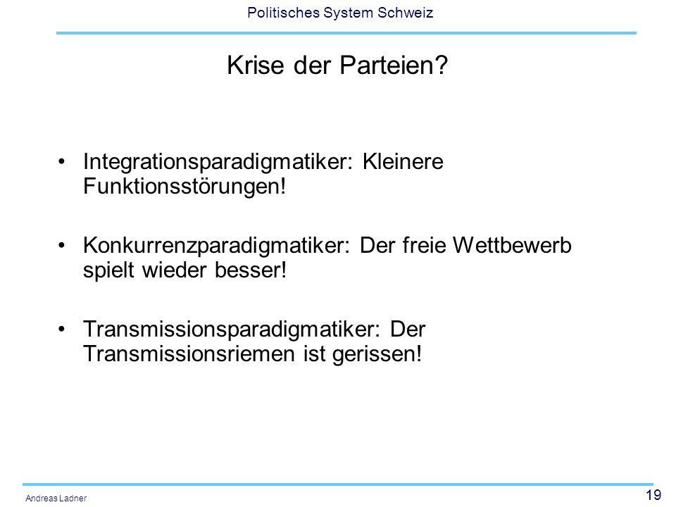 19 Politisches System Schweiz Andreas Ladner Krise der Parteien? Integrationsparadigmatiker: Kleinere Funktionsstörungen! Konkurrenzparadigmatiker: De