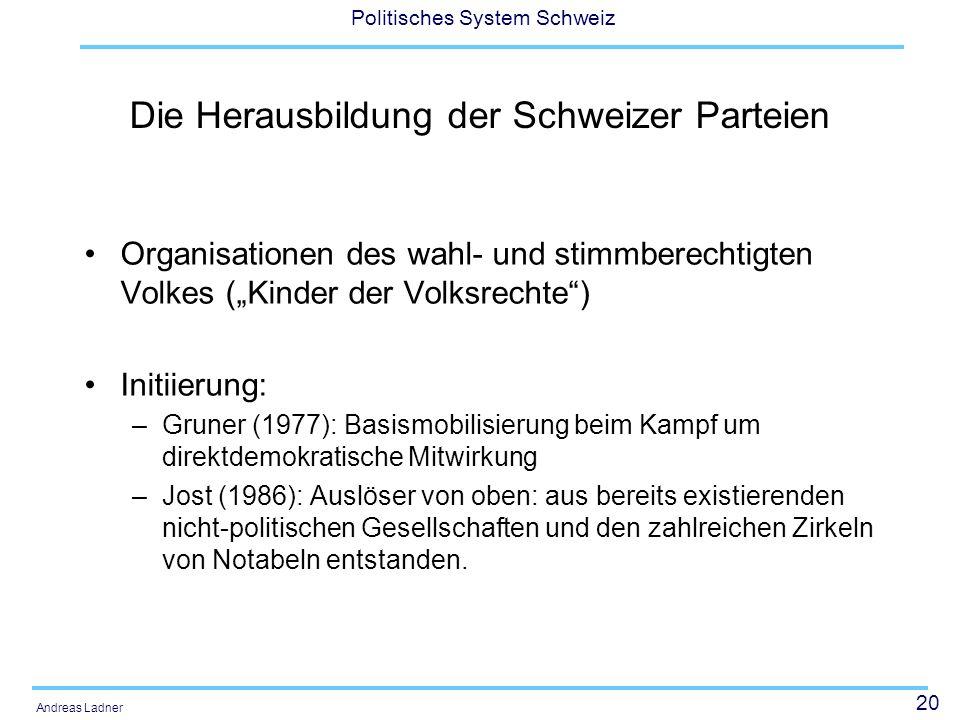 20 Politisches System Schweiz Andreas Ladner Die Herausbildung der Schweizer Parteien Organisationen des wahl- und stimmberechtigten Volkes (Kinder de