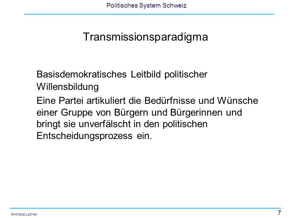 7 Politisches System Schweiz Andreas Ladner Transmissionsparadigma Basisdemokratisches Leitbild politischer Willensbildung Eine Partei artikuliert die