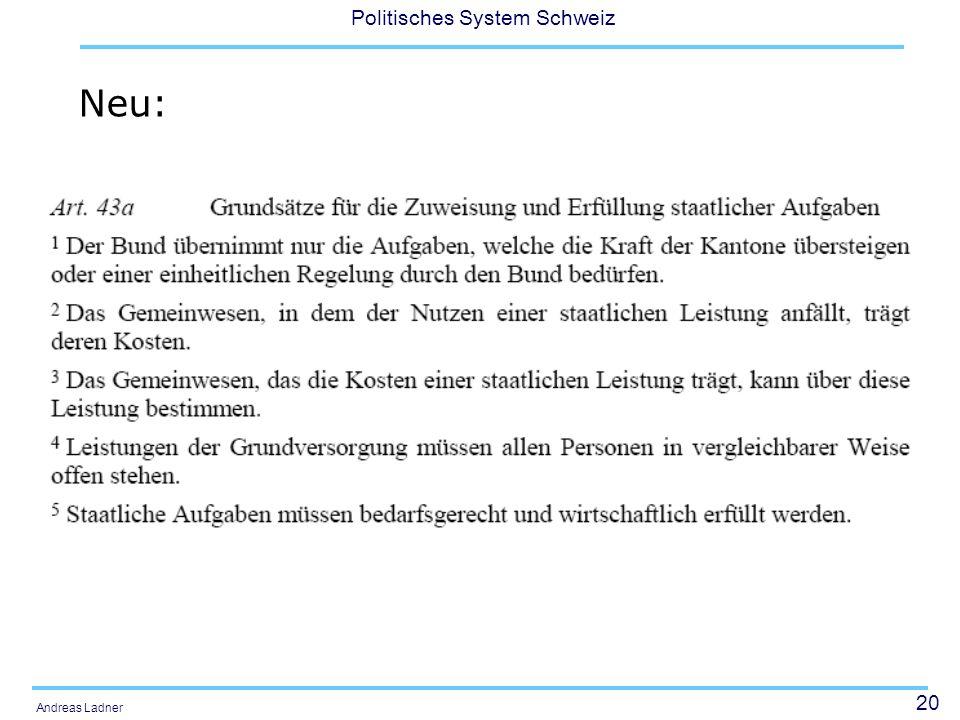 20 Politisches System Schweiz Andreas Ladner Neu: