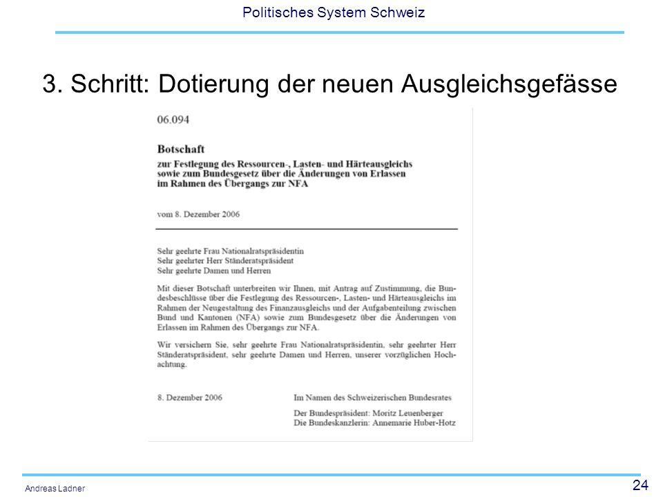 24 Politisches System Schweiz Andreas Ladner 3. Schritt: Dotierung der neuen Ausgleichsgefässe