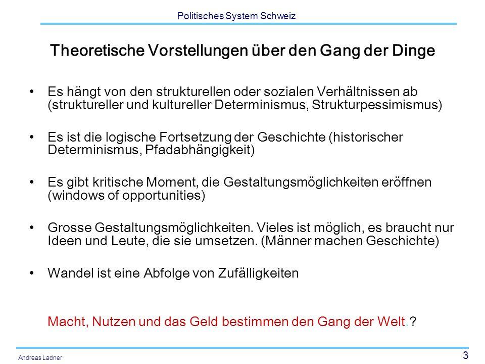 3 Politisches System Schweiz Andreas Ladner Theoretische Vorstellungen über den Gang der Dinge Es hängt von den strukturellen oder sozialen Verhältnis