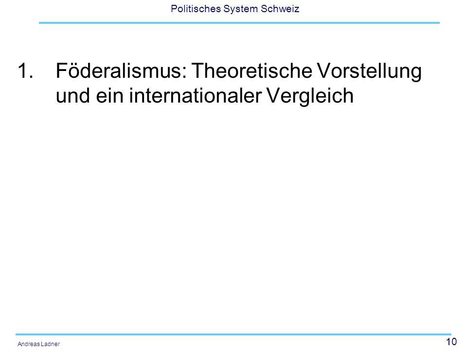 11 Politisches System Schweiz Andreas Ladner Föderalismustheorien alt Die traditionellen Föderalismustheorien der Aufklärung und des 19.