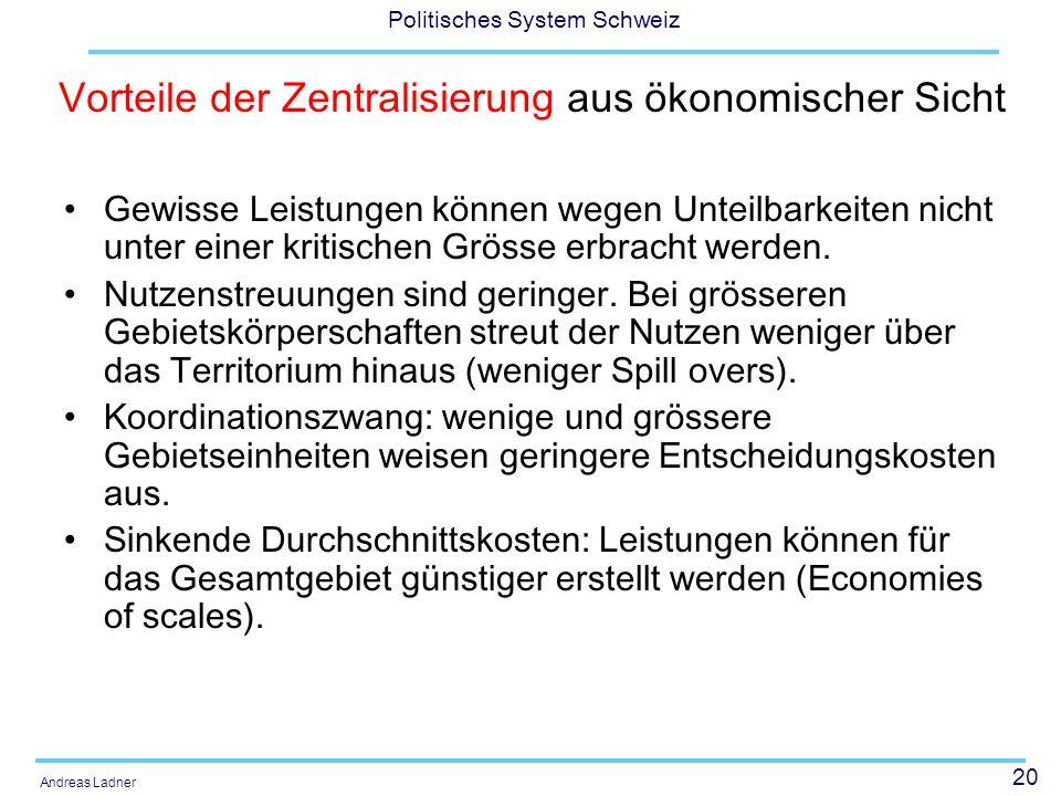 21 Politisches System Schweiz Andreas Ladner Politikwissenschaftliche Perspektive: Beurteilung der Leistungsfähigkeit des Föderalismus sowohl unter dem Aspekt der Willensbildung und der Legitimation, wie auch unter dem Aspekt der Effizienz und der Effektivität.